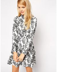 Asos Skater Dress in Textured Floral with High Neck and Long Sleeves - Lyst