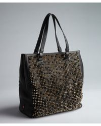 Christian Louboutin Black Leather Studded Panet Tone Tote - Lyst