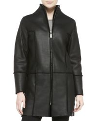 Elie Tahari Dalia Seamed Leather Coat W Shearling Fur Lining - Lyst