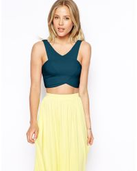 Asos Wrap Front Crop Top - Lyst
