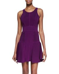 Milly Knit Fitflare Dress Plum - Lyst