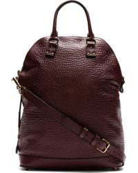 Burberry Prorsum Burgundy Grained Leather Tote Bag - Lyst