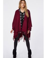 Missguided Merlucia Fringed Blanket Wrap Oxblood - Lyst