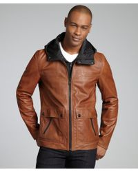 SOIA & KYO - Camel Leather Asa Hooded Zip Front Jacket - Lyst