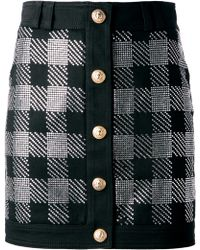 Balmain Checked Skirt - Lyst