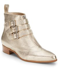 Tabitha Simmons Metallic Leather Ankle Boots - Lyst