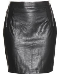 McQ by Alexander McQueen Black Leather Miniskirt - Lyst