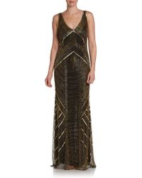 Theia Art Deco Beaded Gown - Lyst