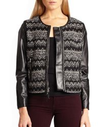 Milly Zig Zag Tweed Combo Jacket - Lyst