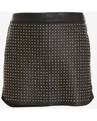 Mason by Michelle Mason Studded Front Leather Mini Skirt - Lyst