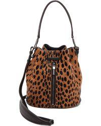 Elizabeth And James Cynnie Mini Haircalf Bucket Bag  Cognacblack - Lyst