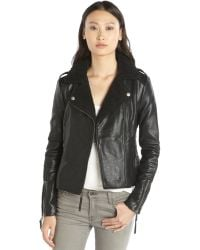 BCBGeneration Black Faux Leather Berber Trim Asymmetrical Zip Front Jacket - Lyst