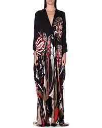 Roberto Cavalli Floral Silk Kaftan Black - Lyst