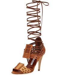 Manolo Blahnik Corda Woven Strappy Sandal - Lyst
