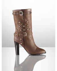 Ralph Lauren Collection Maisa Studded Vachetta Boot - Lyst
