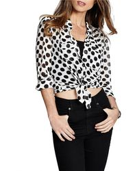 Guess Polka Dot Tie-Front Blouse - Lyst
