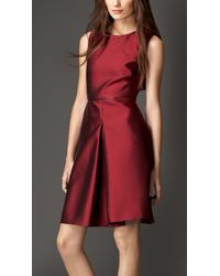 Burberry Silk Blend Skirted Dress - Lyst