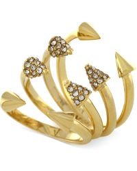 Vince Camuto - Gold-tone Arrowhead Crystal Set Of 4 Stack Rings - Lyst
