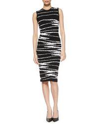 Versace Pucker Zig Zag Striped Knit Dress - Lyst