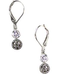 Judith Jack - Silver Marcasite Drop Earrings - Lyst