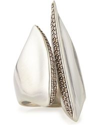 Alexis Bittar Fine | Silver Sculptural Cleaved Ring With Diamonds | Lyst