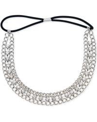 Guess - Silver-Tone Crystal Link Headband - Lyst