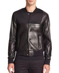 Emporio Armani Leather & Neoprene Bomber Jacket - Lyst