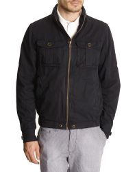 Tommy Hilfiger Navy Blue Washed Cotton Jacket With Patch Pocket - Lyst