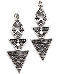 House Of Harlow 2-Way Pave Tribal Triangle Earrings - Silver - Lyst