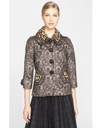 Marc Jacobs Metallic Floral Jacquard Jacket With Genuine Calf Hair Collar purple - Lyst