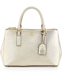 Tory Burch Robinson Metallic Mini Doublezip Tote Bag Gold - Lyst
