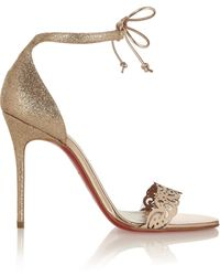 Christian Louboutin Valnina 100 Glitterfinished and Leather Sandals - Lyst