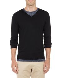 Barneys New York Rollededge Vneck Sweater - Lyst