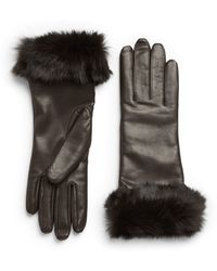 Saks Fifth Avenue Black - Dyed Rabbit Fur Trimmed Leather Gloves - Lyst