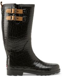 Chooka Black Croc-Embossed Rain Boots - Lyst