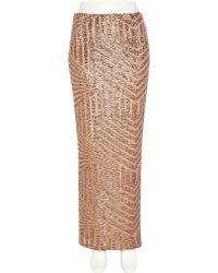 River Island Bronze Sequin Embellished Maxi Skirt - Lyst