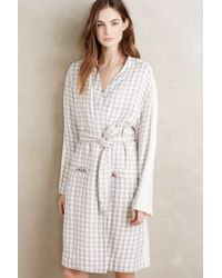 Saturday/sunday - Brandon Plaid Sherpa Robe, Grey - Lyst