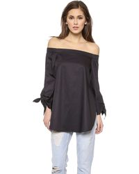 Tibi Off Shoulder Tunic - White - Lyst