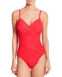 Gottex One-Piece Lattice Swimsuit red - Lyst