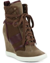 Chloé Suede Lace-up Wedge Sneakers - Lyst