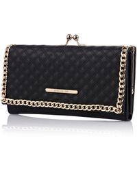 River Island Black Quilted Chain Clip Top Purse - Lyst
