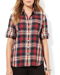 Ralph Lauren Lauren Plus Plaid Flannel Shirt - Lyst