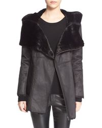 The Kooples - Hooded Faux-Leather and Faux-Fur Jacket - Lyst