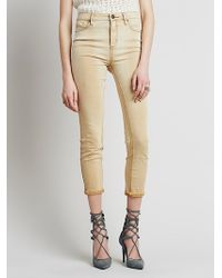 Free People Womens High Rise Roller Skinny beige - Lyst