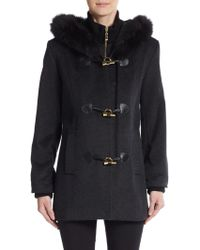 George Simonton - Fox Fur-trimmed Wool-blend Coat - Lyst