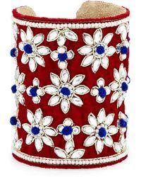 Chamak by Priya Kakkar - Velvet Floral Crystal Cuff Bracelet - Lyst