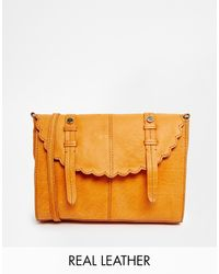 Asos Leather Scallop Flap Cross Body Bag - Lyst