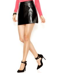 Guess Faux-Leather Mini Skirt - Lyst