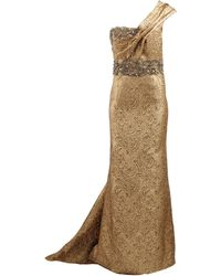 Marchesa Metallic One Shoulder Gown - Lyst