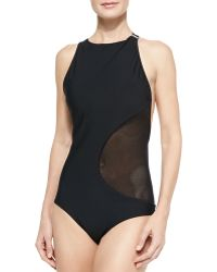 Zimmermann Cutout/Mesh One-Piece Swimsuit - Lyst